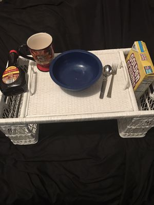 White painted wicker Bed tray big to hold cereal bowl cup utensils for Sale in Newburgh Heights, OH