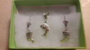 Silver Earrings and neck charm for Sale in Boston, MA