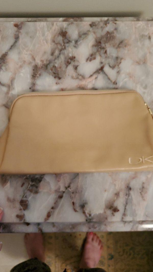 Donna Karen leather makeup bag