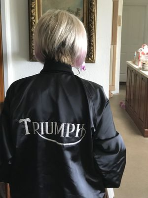 Xl Embroidered Silk Jacket with (Triumph) motorcycle on it for Sale in Vista, CA