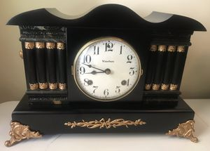 Antique Waterbury Ebony Ormolu 8 Column Mantle Gong Bell Chime Deco Clock for Sale in Lexington, SC