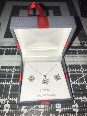 1ct total weight diamond earrings and necklace for Sale in Lake Oswego, OR