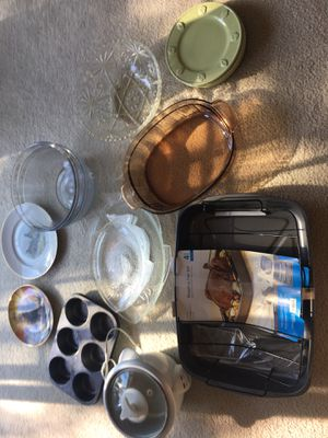 Turkey set brand new plus new glass fish plates and platter for Sale in Milford, MA
