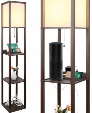 Brown Shelf Lamp With Outlets for Sale in Hemet, CA