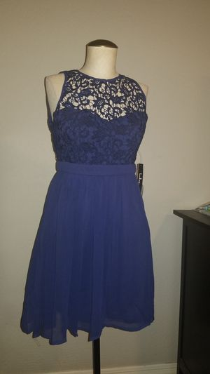 New Size S Small women's navy blue crochet lace knit skater dress wedding formal cocktail dress party for Sale in Gilbert, AZ