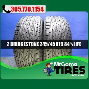 2 BRIDGESTONE TURANZA EL450 RSC RFT XL 245/45/19 USED TIRES 8.4/32 BMW 2454519 for Sale in Miami Gardens, FL