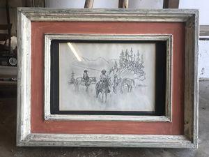 Antique cowboy drawing framed horse Colorado for Sale in Denver, CO