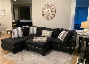 Brand new in box black sectional sofa includes ottoman- reversible chaise for Sale in Downey, CA