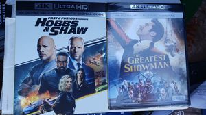 New 4k hobbs and shaw 4k unopened and greatest showman new unopened for Sale in Davenport, FL