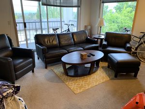 Living room set - couch, sofa with ottoman, recliner, coffee table, side table and lamp! for Sale in Seattle, WA