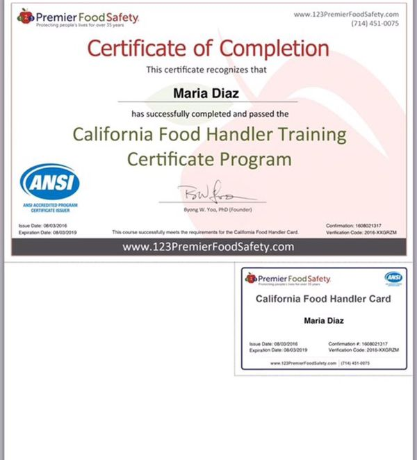 food handlers certificatecard for sale in chino hills ca