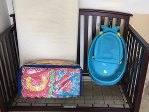 Crib, mattress, baby bath tub, mat with numbers for Sale in Falls Church, VA