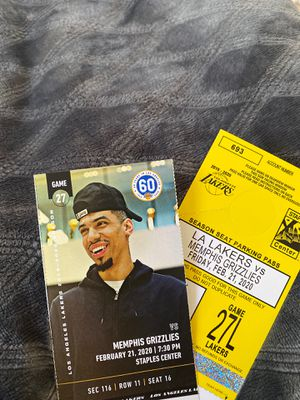 2 tickets Lakers vs Memphis Grizzlies Fri 2/21 sec 116 for Sale in Los Angeles, CA