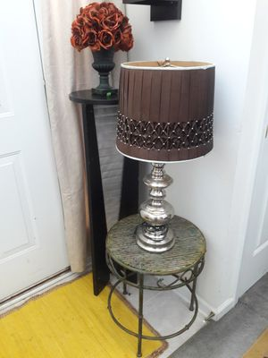 😍Vintage Style Candlestick Lamp with Brown/Light Blue Shade for Sale in Atlanta, GA