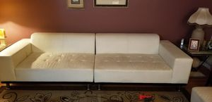 Posh white leather sofa with chaise for Sale in Chicago, IL