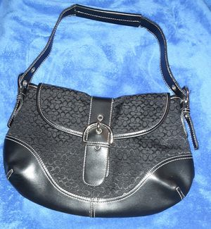 Coach Signature Soho Black Leather & Canvas shoulder bag for Sale in San Antonio, TX