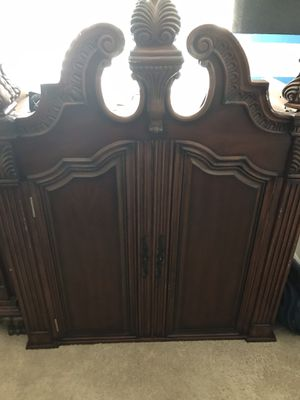 Cherry wood bedroom set - armoire, chest of drawers, 2-side tables, dresser w/mirror, headboard/footboard and rails for Sale in Tampa, FL