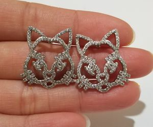 Cat face cz diamond studs earrings silver for Sale in Austin, TX