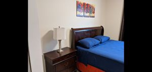Queen bed set mattress, base, 1 night stand, 1 tv stand, frame for Sale in Pembroke Park, FL