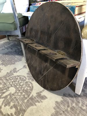 Wine holder wood circle piece for wall. Holds bottles and stemmed glasses. Stained a dark brown for Sale in Santee, CA