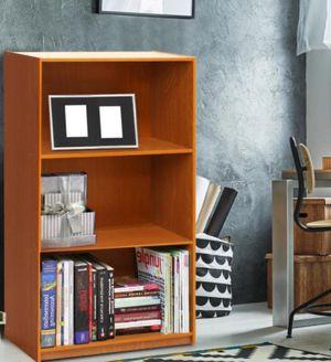 New!! Bookcase, bookshelves, organizer, 3 shelves bookcase, storage unit, living room furniture, entrance furniture , cherry for Sale in Phoenix, AZ