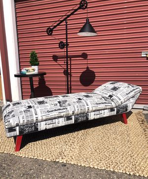Designer mid century chaise lounge French newspaper upholstery for Sale in San Diego, CA