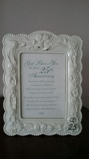 CHRISTIAN PORCELAIN... 25th ANNIVERSARY... PICTURE FRAME ..NEW for Sale in New Port Richey, FL