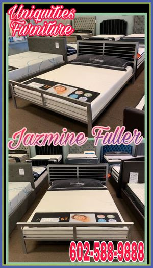 Queen size platform bed frame with 7 inch Chiropedic Memory foam mattress included for Sale in Glendale, AZ