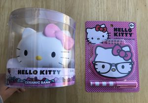 Hello Kitty Set: Includes ceramic Bank/Notepad & pen/ & Rhinestone T-shirt- See Pictures for Sale in Murrieta, CA