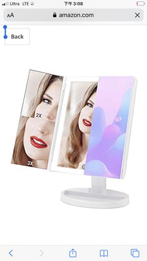 Large Makeup Vanity Mirror with 3 Color Lighting, COSMIRROR Trifold Lighted Makeup Mirror with 88 LED Lights and 1X/2X/3X Magnification, 360°Rotation for Sale in Temple City, CA