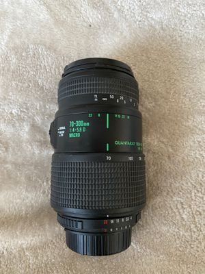 Quantaray 70-300mm f/4-5.6 Macro 1:2 Auto Focus Zoom for Nikon AF film and digital cameras for Sale in San Diego, CA