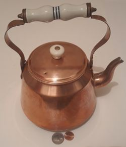 """Vintage Metal Copper and Brass Tea Pot, Tea Kettle, 9"""" x 8"""", Kitchen Decor, Shelf Display, This Can Be Shined Up Even More for Sale in Lakeside,  CA"""