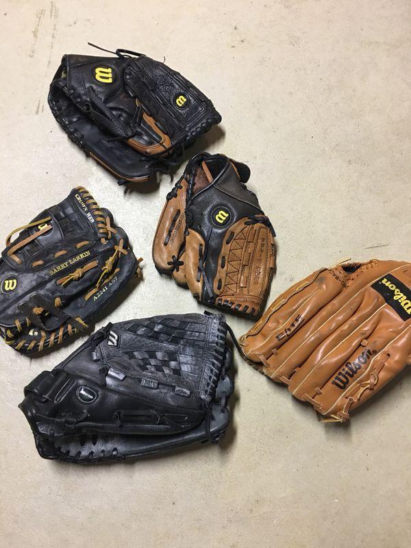 Various baseball gloves