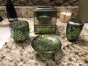Gorgeous glass mosaic bathroom set / bath accessories for Sale in Cypress, TX