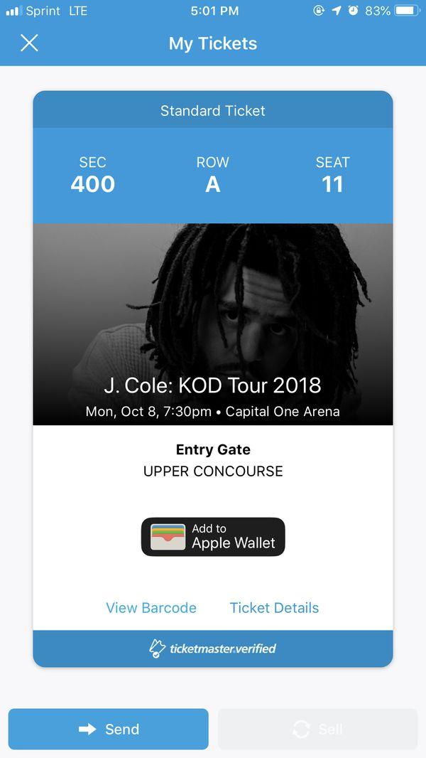 J Cole KOD Tour ticket
