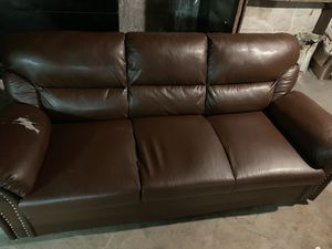 Brown leather 3 seat sofa for Sale in DORCHESTR CTR, MA