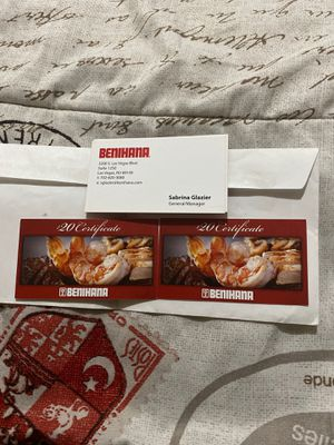 $40 Benihana gift certificates for Sale in Henderson, NV