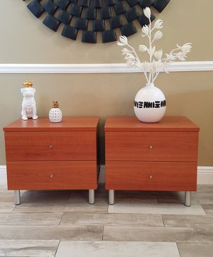 """Brand new modern cherry wood two drawer nightstands / end tables with silver tubes legs H=21"""" d=16"""" w=22.75"""" for Sale in Boca Raton, FL"""