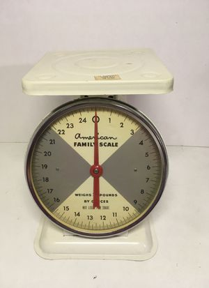 "Vintage Country Kitchen Scale ""American Family"" 25lbs- White Metal Red Dial 8"" for Sale in Glendora, CA"
