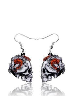 Gothic Butterfly Floral Skull Dangling Earrings for Sale in Riverside, CA