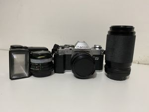 Canon AL-1 qF with flash and lenses for Sale in Jefferson, NJ
