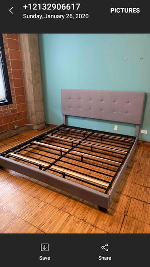 Gorgeous gray king size bed frame $350 OBO for Sale in Chicago, IL