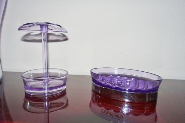 (FREE DELIVERY) 3-piece purple counter-top bathroom set