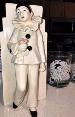 Vintage Pierrot Clown Collectibles; Vase and Bar Glasses for Sale in Scottsdale, AZ