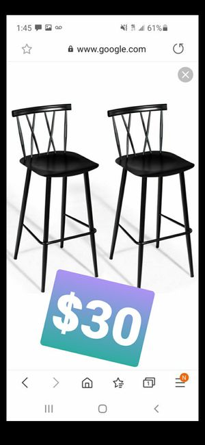 Set of 2 brand new black bar stools for Sale in City of Industry, CA