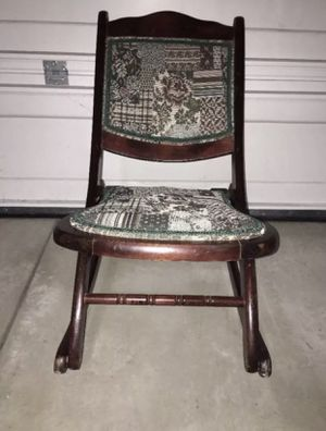 Beautiful Wood Folding Rocker Rocking Chair Tapestry VictorianVintage Antique for Sale in McKees Rocks, PA