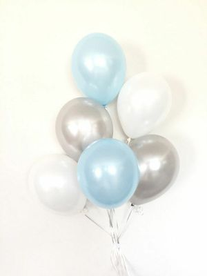 Light blue silver white balloon bouquet birthday party *FIRM * for Sale in Rancho Cucamonga, CA