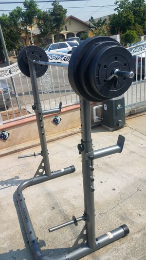 100lbs weight set with 6 foot bar and Squat rack NEW for Sale in Montebello, CA