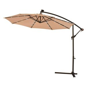 Large Offset Patio Umbrella with Stand Solar LED Lights Lighted Deck Shade Outdoor Furniture for Sale in Chicago, IL