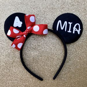 Minnie Mouse Red/White Polkadot Ears Personalized w/ Name, Age & Bow for Sale in Long Beach, CA